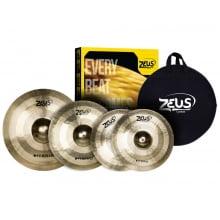 """Set de pratos Zeus Hybrid Hi-Hat 14"""" Crash 16"""" Ride 20"""" c/ Bag - Cópia (1)"""