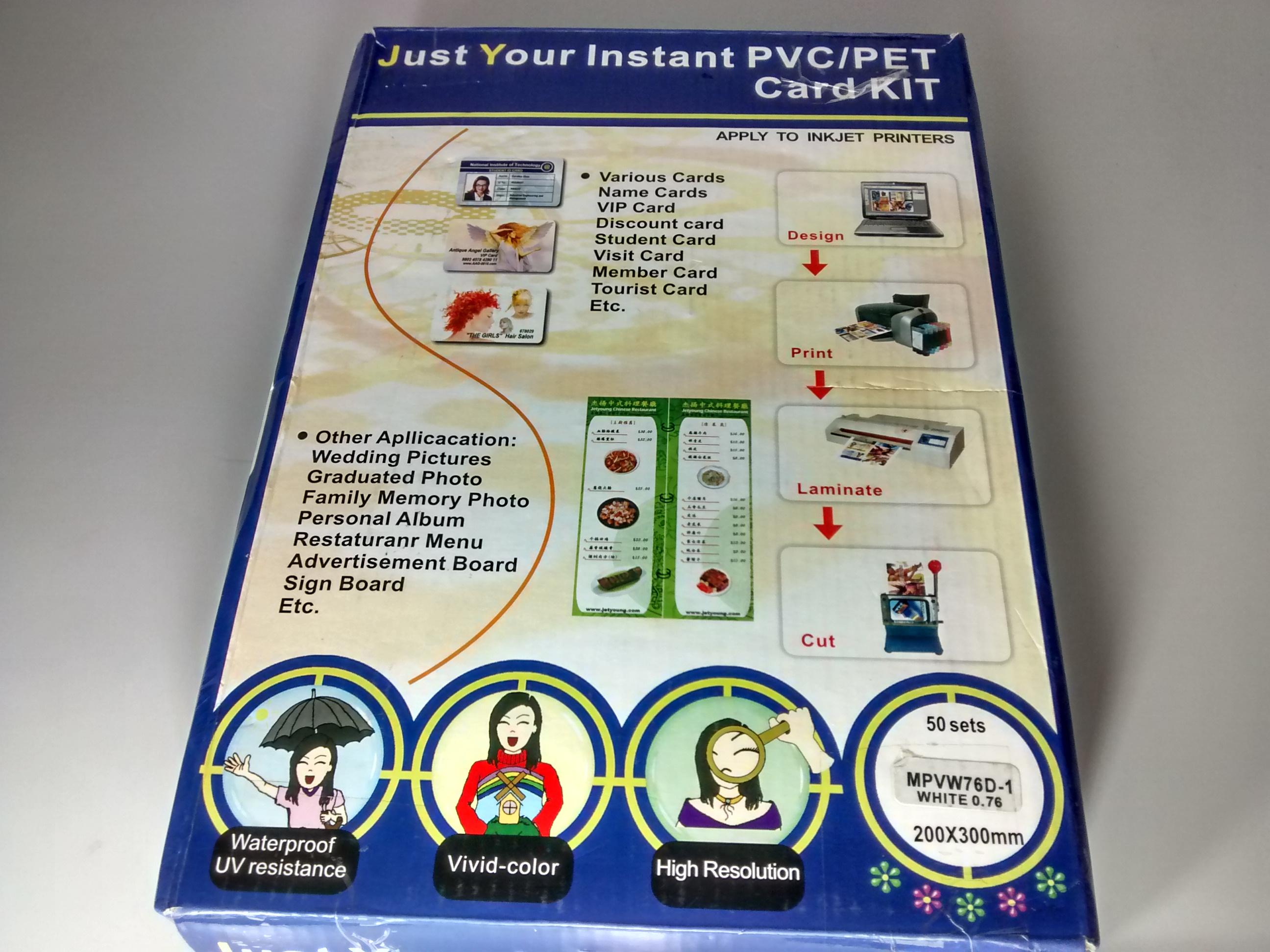 Folha de PVC PET Branco 200x300mm para impressora Jato de Tinta MPVW76D-1 formato A4 (c/ 50 jogos) - Brooklyn Suprimentos