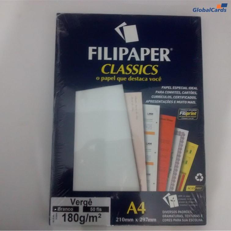 Papel Filipaper Vergê A4 180g/m2 Branco (50 Folhas)