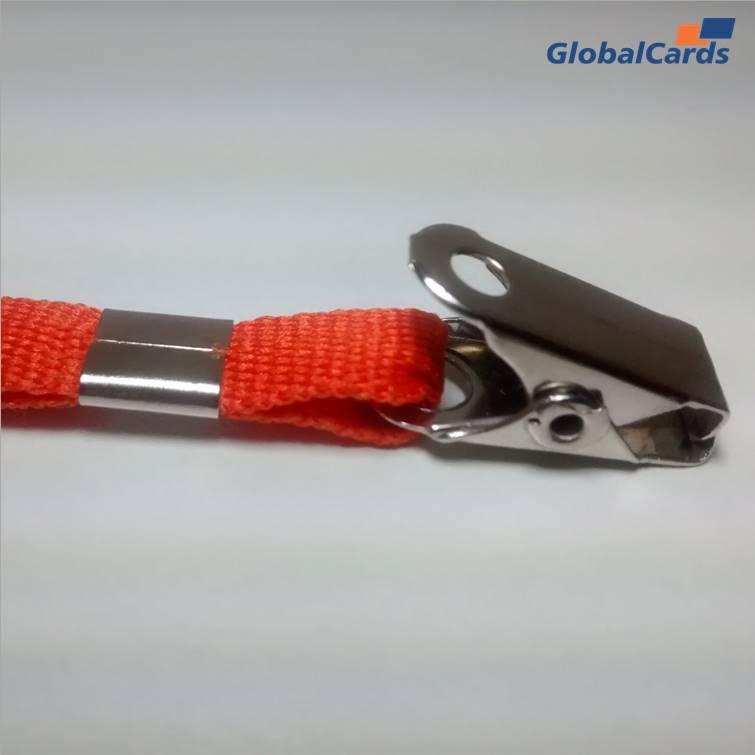 Cordão Liso 12mm para crachá c/ presilha clips jacaré laranja
