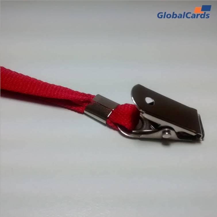 Cordão Liso 15mm para crachá c/ presilha clips jacaré vermelho