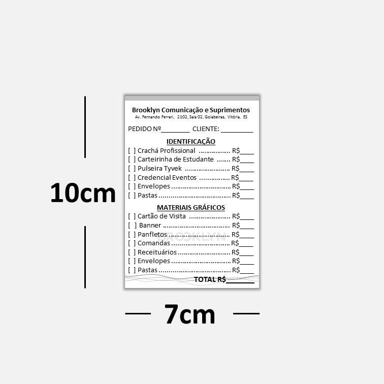 Blocos ou Comandas Sulfite 75g Preto Branco 7x10cm 1x0 cores c/ 10 blocos de 100 folhas