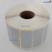 Etiqueta Adesiva Poliéster Prata 46x20mm para patrimônio