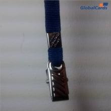 Cordão Liso 09mm para Crachá com Presilha Clips Jacaré - Azul Marinho