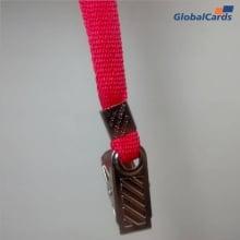 Cordão Liso 09mm para Crachá com Presilha Clips Jacaré - Vermelho