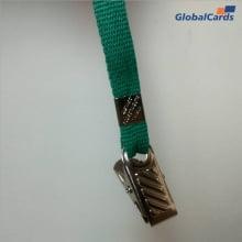 Cordão Liso 15mm para Crachá com Presilha Clips Jacaré - Verde