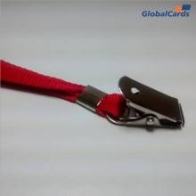 Cordão Liso 15mm para Crachá com Presilha Clips Jacaré - Vermelho