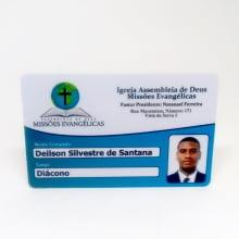 Cartão Membro Igreja PVC 0,76mm 4x1 Cores Frente Colorida com verso escrito em Preto - Ped Mínimo 20
