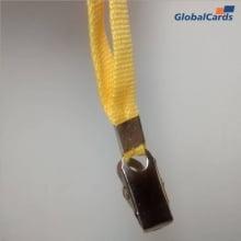 Cordão Liso 09mm para Crachá com Presilha Clips Jacaré - Amarelo
