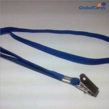 Cordão Liso 09mm para crachá c/ presilha clips jacaré azul royal