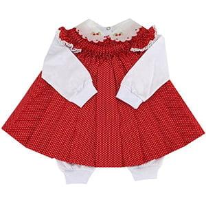 Vestido casinha de abelha com pagão poá vermelho - 0 a 3 meses