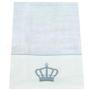 Fralda Bordada Coroa Azul