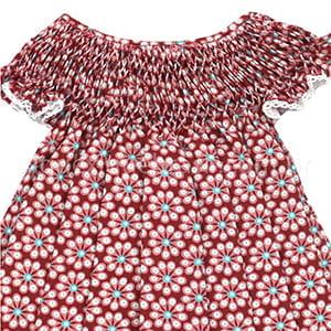 Vestido Casinha de Abelha Floral Bordô - 9 a 12 meses