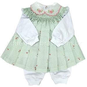 Vestido Casinha de Abelha com Pagão Floral Poá Verde Água - 0 a 3 meses