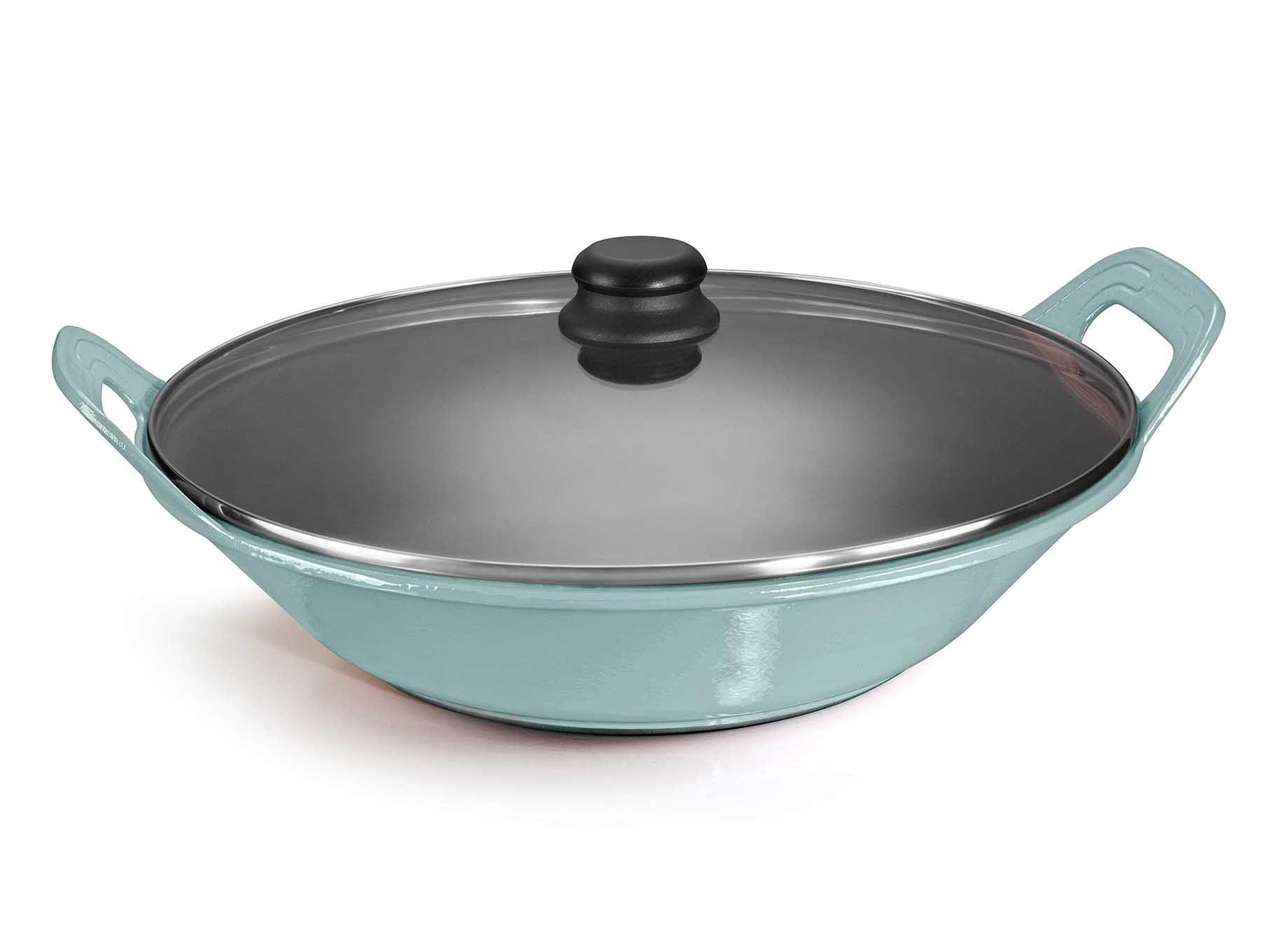 panela de ferro fundido azul para risoto com tampa de vidro, risotto, paelleira de ferro, frigideira e assadeira 2,5 litros