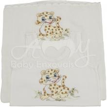 Conjunto camiseta e fralda infantil bordada - Leãozinho