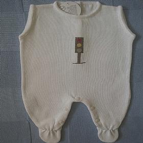 Saída de Maternidade em Tricot - Listra Azul Carrinho