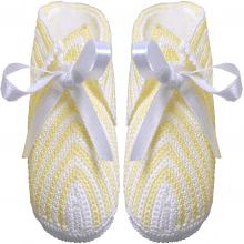 Sapatinho crochê amarelo e branco - 0 a 3 meses