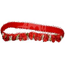 Tiara com aplicação rosa vermelha
