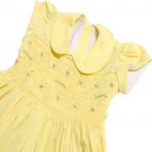 Vestido casinha de abelha em ponto smock  amarelo 1 ano - atacado