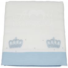 Toalha fralda bordada coroa azul