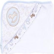 Toalha fralda infantil com capuz  baby blue