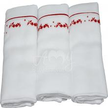 Fralda bordada floral vermelha - 3 unidades