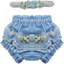 Calcinha infantil bordada com tiara azul tiffany