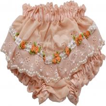 Calcinha infantil bordada com tiara em perolas salmão