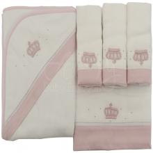 Enxoval bordado coroa rosa - 5 peças