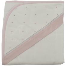 Jogo de toalha de banho bordada poá rosa - 2 peças