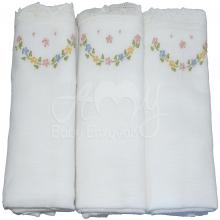 Enxoval renda renascença guirlanda  floral - 6 peças