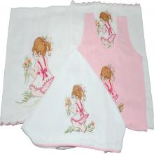 Presente para recem nascido bordado menina flor - 4 peças