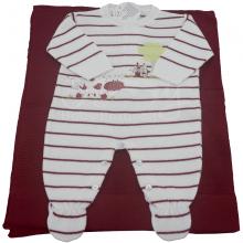Saída de maternidade em trico listrado com aplicação fazendinha