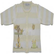Saída de maternidade em tricot com listra amarela -  casinha borboletas