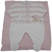 Saída de maternidade em tricot com  listra rosa ovelhinha