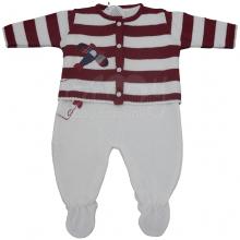 Saída de maternidade em tricot com listra vermelha aviãozinho