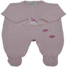 Saída de maternidade em  tricot rosa ursinha