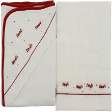 Jogo de toalha de banho bordada floral vermelha - 2 peças