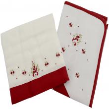 Jogo de toalha de banho bordada florzinha vermelha - 2 peças