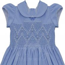 Vestido casinha de abelha azul ponto smock rosa branca - 2 anos