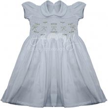 Vestido casinha de abelha branco ponto smock laço  - 3 anos