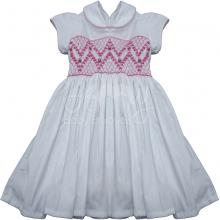 Vestido casinha de abelha branco rococo rosa 1 ano - ATACADO