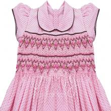 Vestido casinha de abelha em ponto smock poá morrom rosa- 1ano