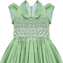 Vestido casinha de abelha em ponto smock poá verde- 1ano