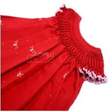 Vestido Casinha de abelha vermelho com florzinha - 2 anos
