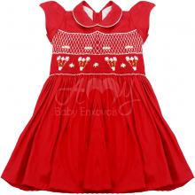 Vestido casinha de abelha vermelho ponto smock flower - 1ano