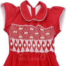 Vestido casinha de abelha vermelho ponto smock Ísis - 1ano