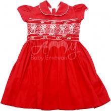 Vestido casinha de abelha vermelho ponto smock laço - 2 anos