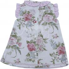 Vestido chanel infantil floral laço rosa - 03 a 06 meses